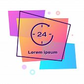 Purple Clock 24 hours icon isolated on white background. All day cyclic icon. 24 hours service symbol. Color rectangle button. Vector Illustration poster