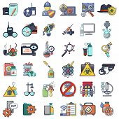 Spying poison icons set. Cartoon set of 36 spying poison vector icons for web isolated on white background poster