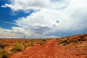 Red dirt road in the desert of Page, Arizona.  Desert path with shrubs in the foreground, powerlines and a large cloudy blue sky.  Open land on a hot days journey. poster