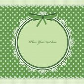 Green frame for your design. polka dot card with lace poster