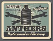 Car service center vintage poster, automobile chassis spare parts shop. Vector car hinge anthers replacement and recovery, vehicle mechanic repair wrenches and automotive garage station poster