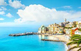 View Of Bogliasco. Bogliasco Is A Ancient Fishing Village In Italy, Genoa, Liguria. Mediterranean Se