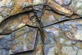 Colorful Fractured Rock With Layers, Newfoundland Geology