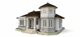 Old House In Victorian Style. Illustration On White Background. Species From Different Sides. 3d Ren
