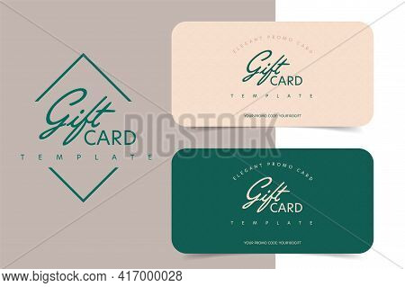Elegant Gift Card Template With Shopping Promo Code. Special Reward, Financial Prize And Value Prese