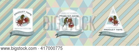 Three Colored Labels With Illustration Of Feijoa Flowers Stock Illustration