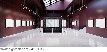 Mockup Of Art Gallery Museum Full Of White Paintings With Spotlights And Sunroof. 3d Rendering