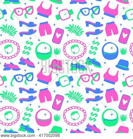 Sport Life Style Shoes And Accessories Seamless Pattern. Vector Illustration Shoes, Sneakers, Bag An