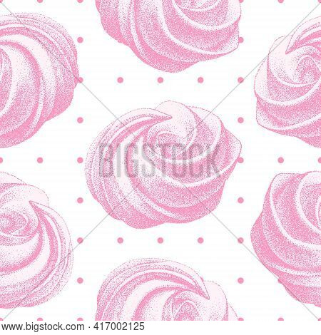 Seamless Pattern With Pink Airy French Meringues, Marshmallow, Zephyr. Sweetness, Sweet Cake, Desser