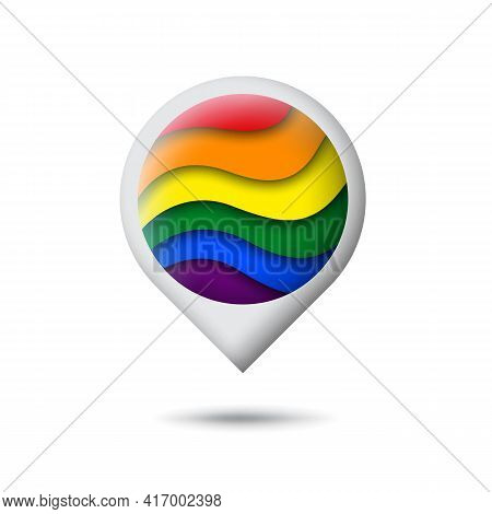 Lgbt Concept - Rainbow Pride Flag Lgbtq Icon In The Shape Of Pointer, Map Marker. Abstract Waving Lg