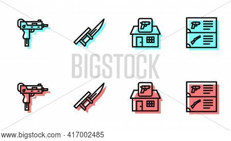 Set Line Hunting Shop Weapon, Uzi Submachine Gun, Bayonet Rifle And Weapon Catalog Icon. Vector