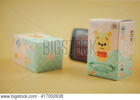 Bangkok, Thailand - April 15, 2021 : Winnie The Pooh Figures Mystery Box Blind Box Collection Is Ran