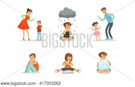 Sad Depressed Children Set, Unhappy Stressed Lonely Kids, Conflict With Parents, Father And Mother S