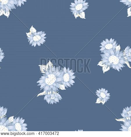 Vector Monochromatic Blue Sunflower Bouquets Seamless Pattern Background. Perfect For Fabric, Scrapb