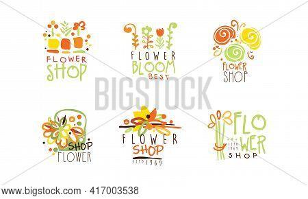 Flower Shop Original Logo Design Collection, Florist Boutique Hand Drawn Retro Badges Vector Illustr