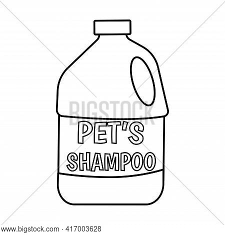 Shampoo For Pets In Doodle Style. Large Plastic Bottle Labeled Pet Shampoo. Accessory For Pets Hand