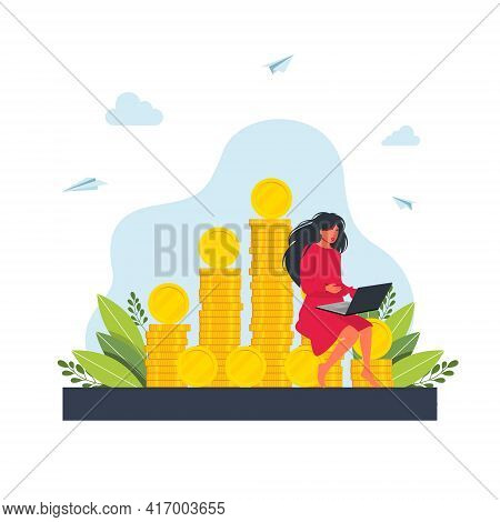 Woman Sitting On A Pile Of Coins, Working At A Laptop. Girl Freelancer Working On Laptop Sitting On