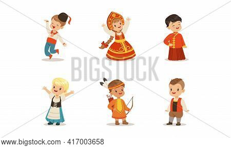Cute Kids In National Costumes Of Different Countries Set, Boys And Girls Wearing Russian, Danish, A