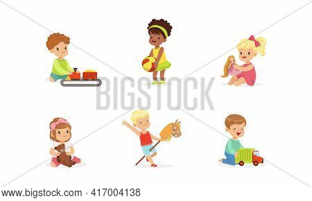 Happy Cute Kids Playing Toys Set, Little Boys And Girls Riding Stick Horse, Hugging Teddy Bear, Play