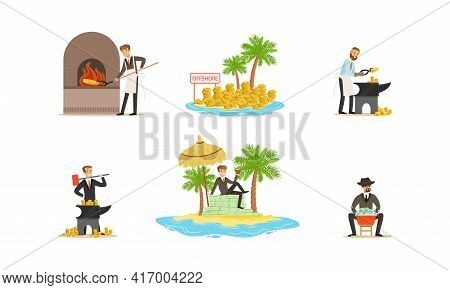 Set Of Money Laundering, Unfair Business People Washing Banknotes, Using Offshores, Forging Money In