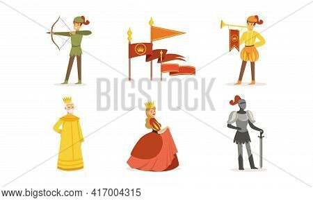Medieval Kingdom Set, European Middle Ages Or Fairy Tale Characters, Archer, Herald, King, Queen, Kn