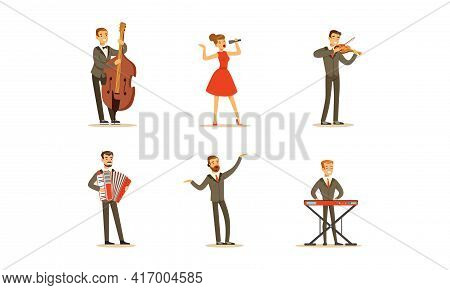Set Of Professional Classical Musicians And Singers, People Performing On Stage Cartoon Vector Illus