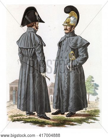 Officer of the Kurassiers, in a small outfit with the jacket, and Kurassier in outfit with the jacket, vintage engraving.