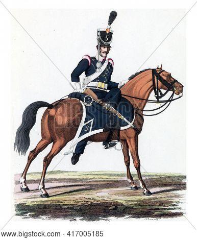 Dragoon, on horseback, vintage engraving.
