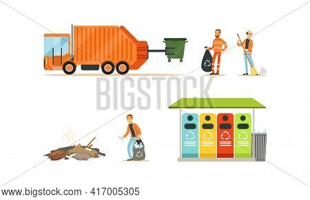 Garbage Collection And Remove Set, Orange Garbage Truck And Workers Street Cleaners Cartoon Vector I