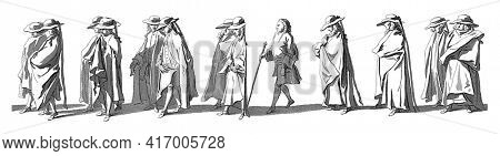 Members of the stadholder's administrative apparatus. In the margin the caption in Dutch, French and English, vintage engraving.
