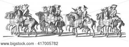 Four groups of whisks on horseback. In the margin the caption in Dutch, French and English, vintage engraving.