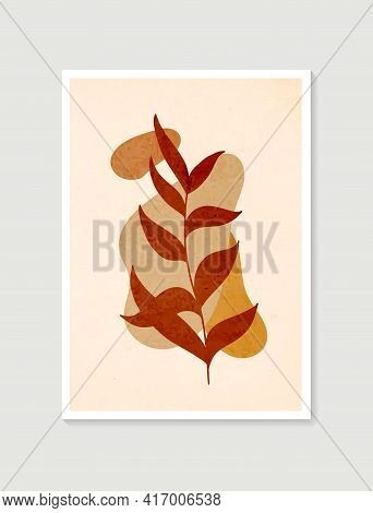 Botanical Wall Art Vector. Minimal And Natural Wall Art. Boho Foliage Line Art Drawing With Abstract