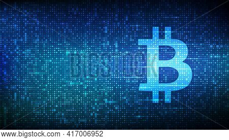 Bitcoin Icon Made With Binary Code. Blockchain Technology. Bitcoin Digital Cryptocurrency Sign. Abst
