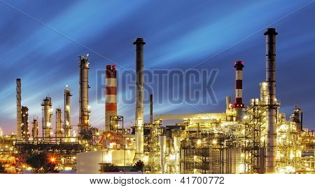 Factory At a Sunset - Oil Refinery poster