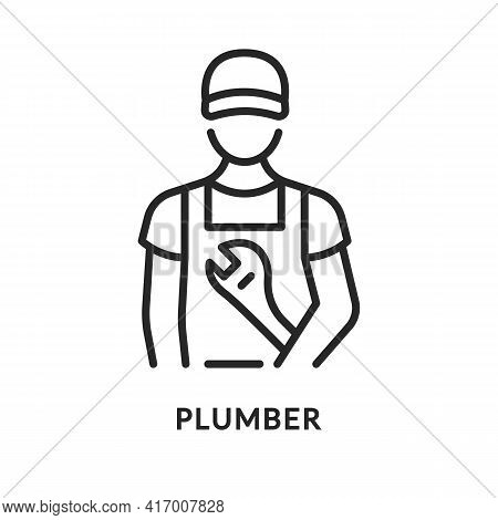 Plumber With Adjustable Wrench Flat Line Icon. Vector Illustration Worker Worker With A Tool In Over