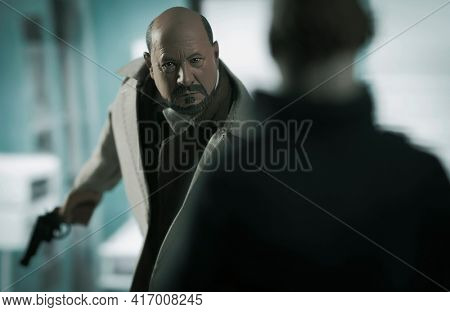 APRIL 14 2021: Scene from Horror movie Halloween 2 where Dr Sam Loomis confronts Michael Myers - Neca action figures