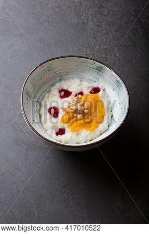 Prepared Rice Porridge Bowl Set For Breakfast