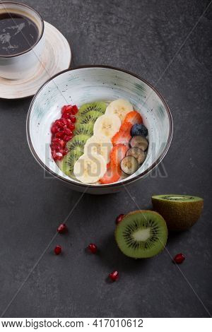 Fruit Porridge Bowl Served For Breakfast With Fruits