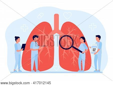 Lung Diagnosis Healthcare. Concept Of Lung Disease, Pulmonology, Cancer, Pneumonia, Tuberculosis. In