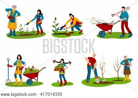 A Set Of People Working In The Garden. Family Vacation Together. Grandmother And Granddaughter Are W