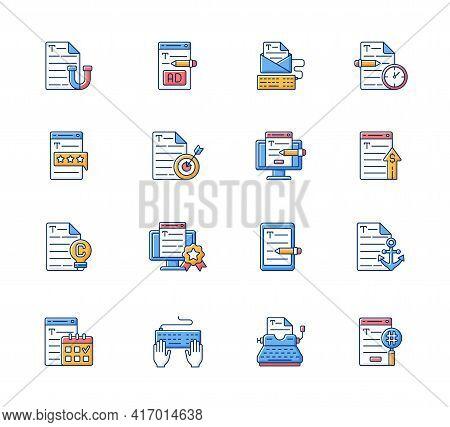 Copywriting Rgb Color Icons Set. Aiming At Target Audience. Professional Copywriting. Freelance Busi