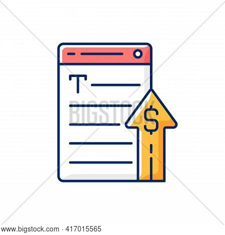 Generating Income Rgb Color Icon. Revenue From Copywriting Services. Freelance Work Cost, Earn Money