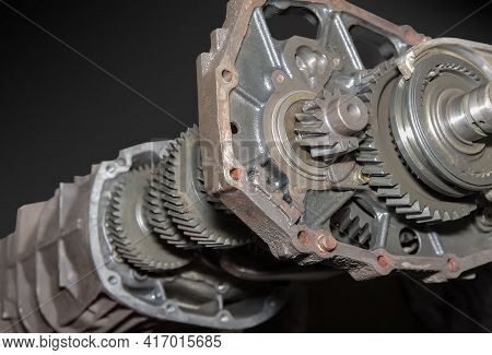 Car Gearbox Isolated On Black Background Stock Photography