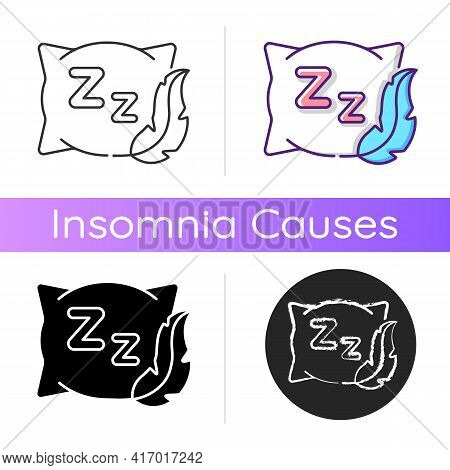 Comfortable And Fresh Pillow Icon. Orthopedic Cushion For Bedtime. Improve Sleep Hygiene. Recommenda