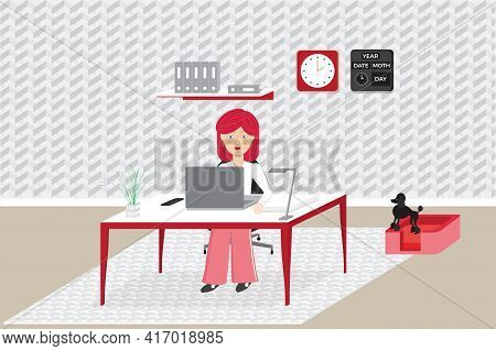 Woman Girl Sitting At Home Desk Working Freelance. Remote Worker Or Working At Home Concept