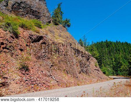 Summer Scene Along The Back Road - Roadside Rocks Along Straight Creek Road - Cascade Range - Near M