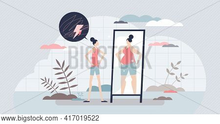Eating Disorder As Mental Overweight Appearance Problem Tiny Person Concept