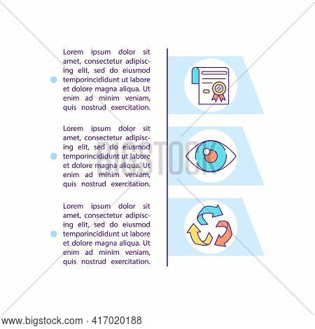 Environmental Compliance Concept Line Icons With Text. Ppt Page Vector Template With Copy Space. Bro