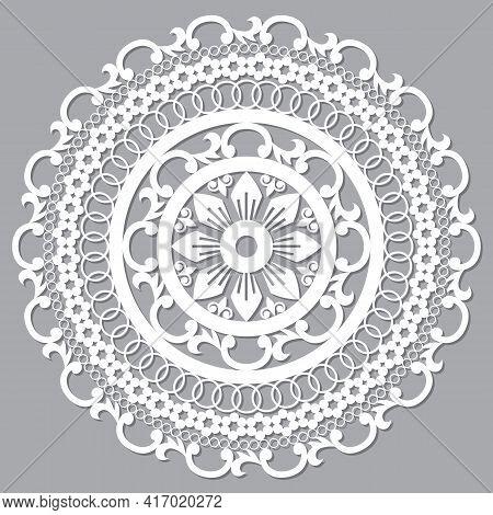 Moroccan Openwork Mandala Vector Design, Boho Arabic Pattern With Flowers, Leaves And Swirls