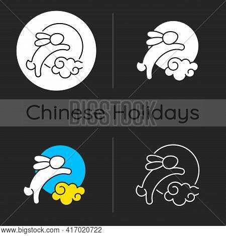 Rabbits And Moon Dark Theme Icon. Moon Hare. Immortal Jade Rabbit. Mid-autumn Festival. Mythical Fig